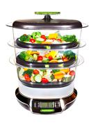 Stock Photo of healthy cooking, steam cooker with vegetables
