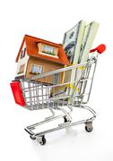 Shopping cart and house Stock Photos
