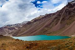 lake chandra taal, spiti valley - stock photo