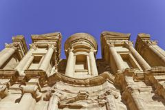 monastery in ancient nabataeans city of petra - stock photo