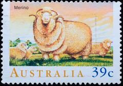 Australia stamp shows  merino sheep Stock Photos