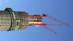 Supertall skyscraper under construction Stock Footage