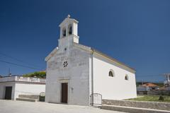 White church in Ljubac - stock photo
