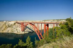 Old Maslenica bridge Stock Photos