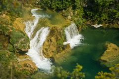 Cascades and lake in the Krka national park - stock photo
