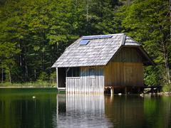 fishing lodge with solar array - stock photo