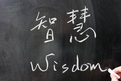 Wisdom word in chinese and english Stock Photos