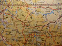 Map montana, treasure state Stock Photos