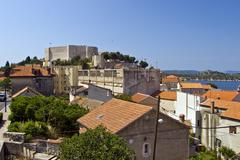 Panorama of houses and St.Michael fortress - stock photo
