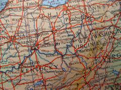 map of kentucky, ohio and west virginia - stock photo