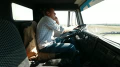 Lorry Driver On The Phone - stock footage