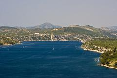 Sibenik channel and bridge - stock photo