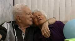 Elderly Couple Celebrate Wedding Anniversary - stock footage