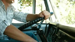 Lorry Driver at the Wheel of Truck Stock Footage