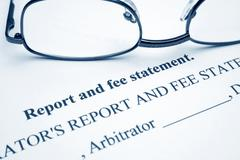 Stock Photo of report and fee statement