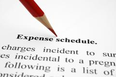 Expense schedule Stock Photos