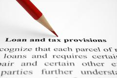 Stock Photo of loan and tax provisions