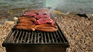 Meat on the barbecue Stock Footage
