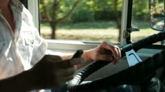 Truck Driver in Cab Stock Footage