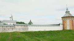 Many buildings beyond wall of Saviour Prilutskyl Monastery Stock Footage