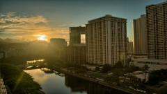 Honolulu Dawn, Ala Wai Canal, HDR Time Lapse Stock Footage