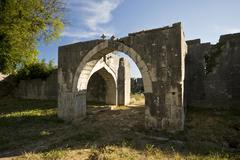 Arch in the oriental Maskovica khan courtyard Stock Photos