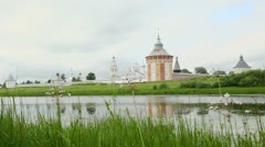 Flowers on coast of river with Saviour Prilutskyl Monastery Stock Footage