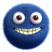 3d cartoon cute blue monster Stock Illustration