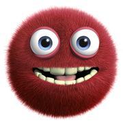cartoon red hairy ball - stock illustration