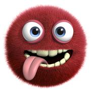 red hairy ball - stock illustration
