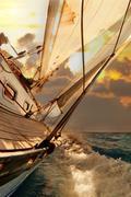 Sailboat crop during the regatta Stock Photos