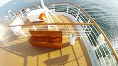 Cruising liner floats by sea leaving after itself  vortex trail. Stock Footage
