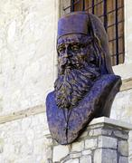 statue of dositheos, abbot of omodos monastery, cyprus - stock photo