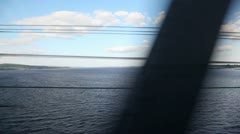 Landscape of wide river with coast, sky and clouds in distance Stock Footage