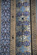 details of floral mosaic tiled columns .. - stock photo