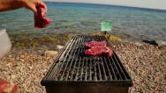 Roast meat on the barbecue-Sequence Stock Footage