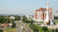 city panorama with roads and memorable complex - stock footage
