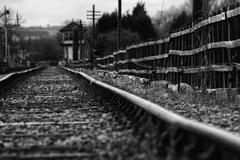 set of derelict train tracks - stock photo