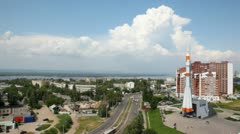 Memorial complex to carrier rocket Union in Samara Stock Footage