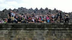BOROBUDUR - MAY 2012: indonesian students visiting borobudur, indonesia Stock Footage