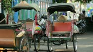Stock Video Footage of transportation with cyclo in indonesia