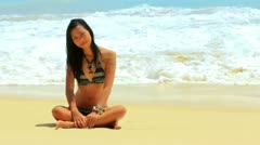 Sexy Asian Girl at Exotic Beach Enjoys with Sun Sea - stock footage