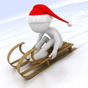 3d human with a sled in the snow - stock illustration