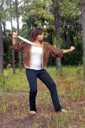 beautiful martial artist outdoors (3) - stock photo