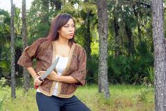 Beautiful martial artist outdoors (5) Stock Photos