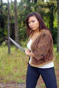 beautiful martial artist outdoors (7) - stock photo
