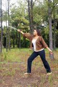 beautiful martial artist outdoors (13) - stock photo