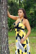 beautiful multiracial woman outdoors (6) - stock photo