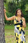 beautiful multiracial woman outdoors (7) - stock photo