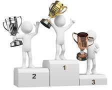 3d athletes on the podium of winners - stock illustration